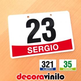 Placa Dorsal para bicicletas - Personalizable con número y nombre - 12x8 cm