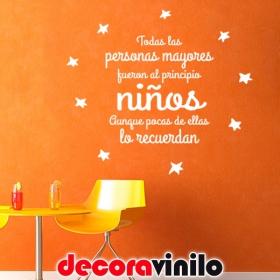 """El Principito FRASE """"FUERON NIÑOS"""" 75x70cm F01"""
