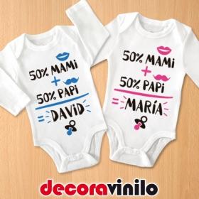 Body bebé 3 meses CON NOMBRE - 50%MAMI+50%PAPI