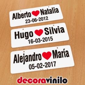 Mini Matrícula Amor aniversario - 20x7 cm