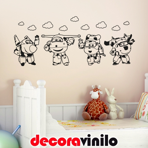 Aviones Super Wings y Nubes - 100x40 cm N22